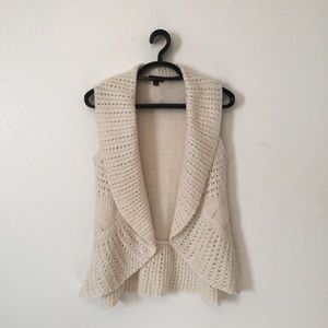Ana Ivory Pointelle Waterfall Cardigan